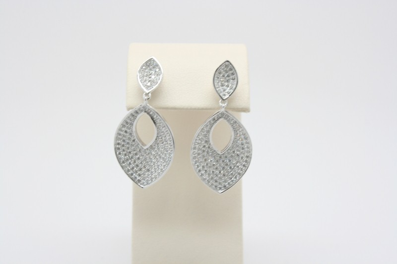 PAVE STYLE DANGLES WHITE STONE SILVER EARRINGS