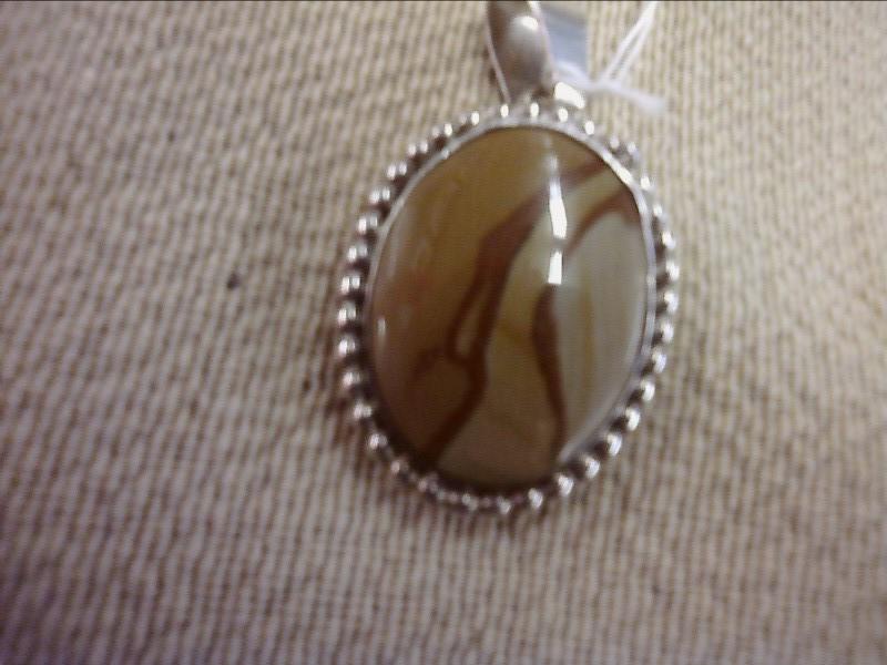 Brown Stone Silver-Stone Pendant 925 Silver 12.72dwt
