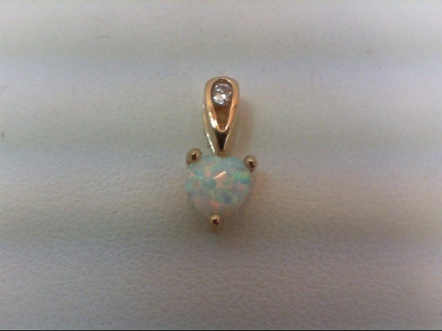 Opal Gold-Diamond & Stone Pendant .02 CT. 10K Yellow Gold 0.5g