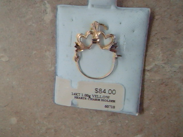 DOUBLE OPEN HEART PENDANT CHARM HOLDER SOLID 14K YELLOW GOLD LOVE