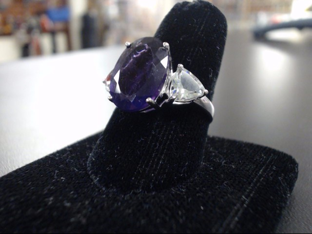 Amethyst Lady's Stone Ring 14K White Gold 3.6g Size:8