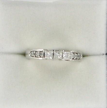 Lady's Diamond Engagement Ring 9 Diamonds .57 Carat T.W. 14K White Gold 3dwt