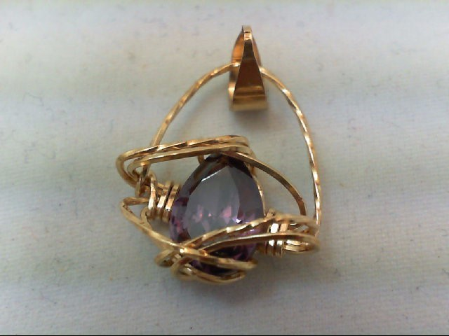 Amethyst Gold-Stone Pendant 14K Yellow Gold 2.2g