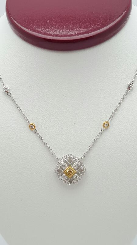Diamond Necklace 25 Diamonds .52 Carat T.W. 18K White Gold 3.9g
