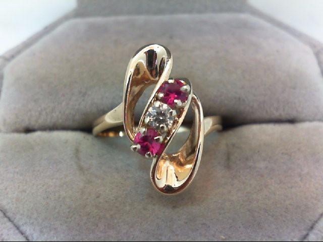 Ruby Lady's Stone & Diamond Ring .12 CT. 14K Yellow Gold 3.6g
