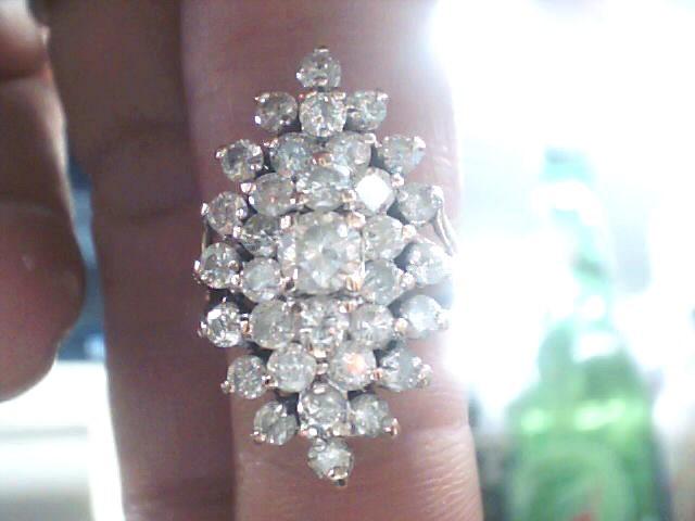 Lady's Diamond Cluster Ring 33 Diamonds 2.24 Carat T.W. 14K Yellow Gold 5.5dwt