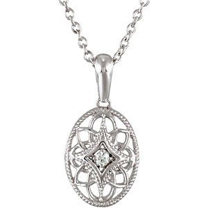 "18"" Diamond Necklace .03 CT. 925 Silver 1.18g"