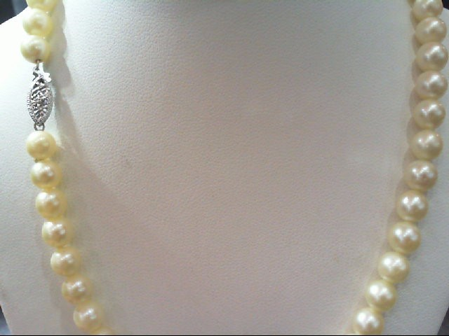 "14"" Pearl Strand Stone Necklace 10K White Gold 20.7g"
