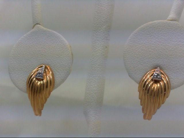 Gold-Diamond Earrings 2 Diamonds 0.02 Carat T.W. 14K Yellow Gold 0.9g