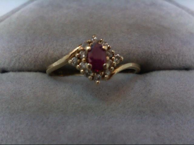 Ruby Lady's Stone & Diamond Ring 12 Diamonds .12 Carat T.W. 14K Yellow Gold 2g