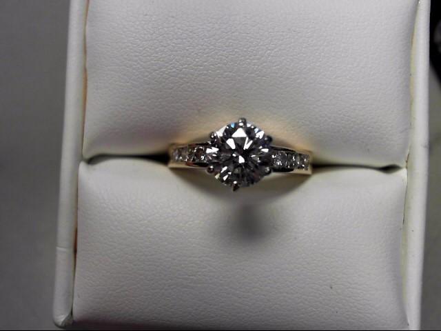 Lady's Diamond Engagement Ring 9 Diamonds 1.55 Carat T.W. 14K Yellow Gold 4.13g