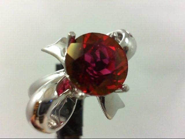 Synthetic Almandite Garnet Lady's Silver & Stone Ring 925 Silver 5.5g Size:5