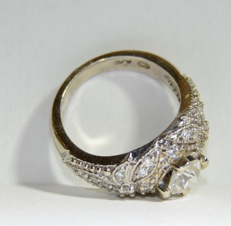 14K White Gold Vintage Inspired Diamond Floral Filigree Ring sz 5