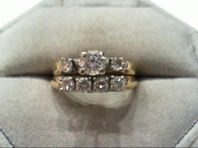 Lady's Diamond Wedding Set 7 Diamonds 1.00 Carat T.W. 14K Yellow Gold 5.8g