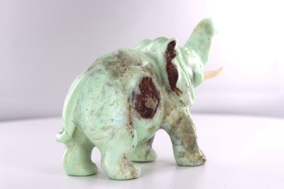 "Light Green - Brown Porus Carved African Elephant Sculpture, 6"", Uplifted Trunk"