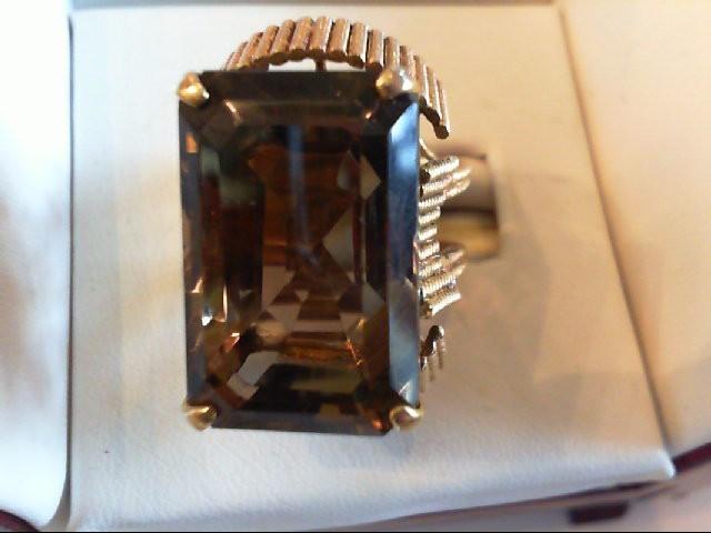 Lady's Smokey Topaz Gold Ring 14K Yellow Gold 15.6g