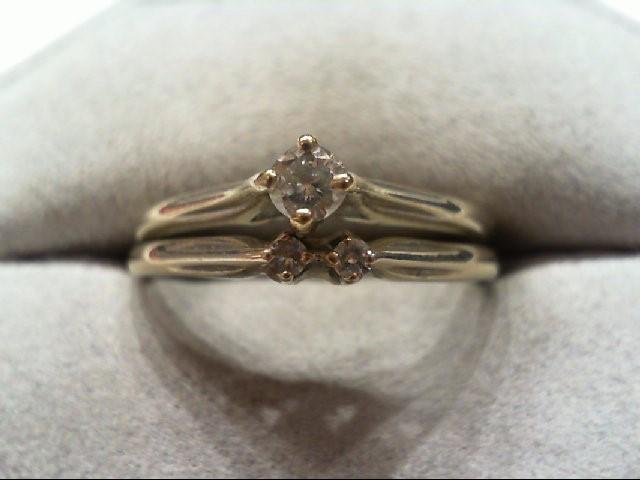 Lady's Diamond Wedding Set 3 Diamonds .18 Carat T.W. 14K White Gold 3.5g