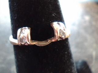 Lady's Gold-Diamond Ring Guard 2 Diamonds .02 Carat T.W. 14K Yellow Gold 0.9dwt