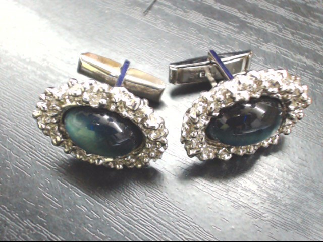 Silver Blue Stone Cuff Links 925 Silver 20.7g