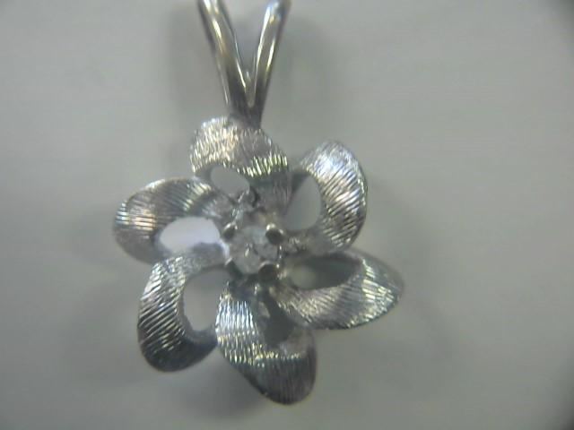 Gold-Diamond Solitaire Pendant .03 CT. 14K White Gold 0.9dwt