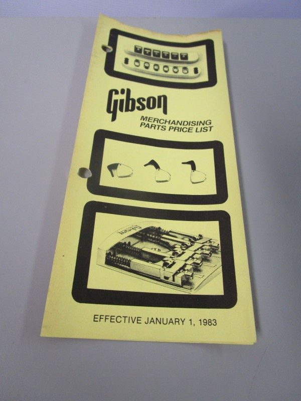 1983 GIBSON GUITARS MERCHANDISING PARTS PRICE LIST BROCHURE,  JANUARY 1, 1983