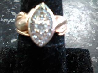 Lady's Diamond Cluster Ring 16 Diamonds .48 Carat T.W. 14K Yellow Gold 3.2dwt