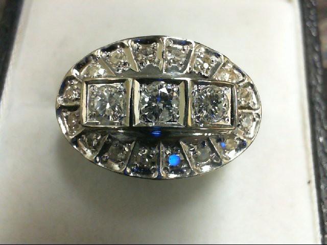 Lady's Diamond Cluster Ring 19 Diamonds 0.77 Carat T.W. 14K White Gold 5.5g