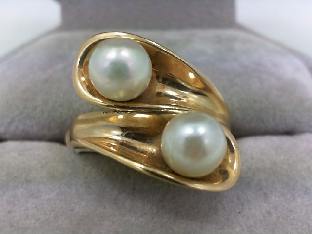 Pearl Lady's Stone Ring 14K Yellow Gold 8.6g Size:6