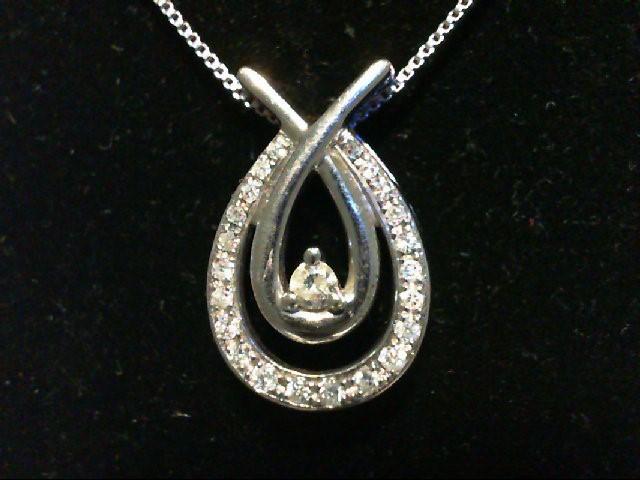Silver-Diamond Pendant 26 Diamonds 0.3 Carat T.W. 925 Silver 2.7g