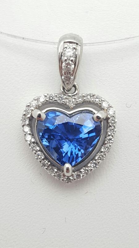 Gold-Diamond & Sapphire Pendant 31 Diamonds .23 Carat T.W. 18K White Gold