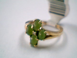 Synthetic Jade Lady's Stone & Diamond Ring .01 CT. 10K Yellow Gold 2.1g
