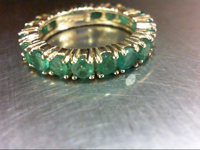 Emerald Lady's Stone Ring 10K Yellow Gold 3.87g