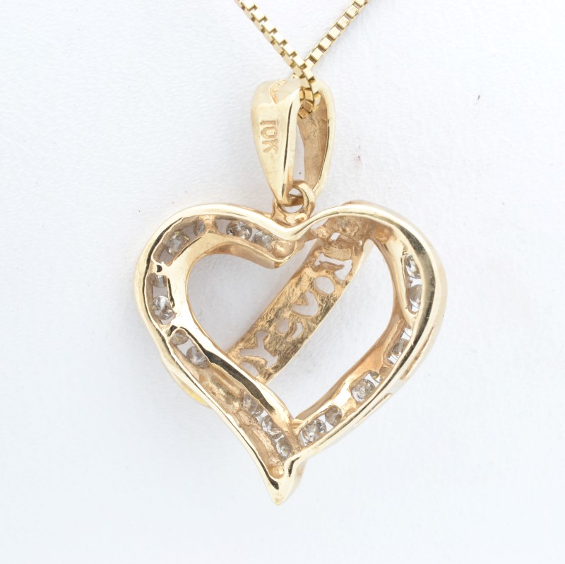 ESTATE DIAMOND HEART PENDANT CHARM SOLID 10K YELLOW GOLD I LOVE YOU