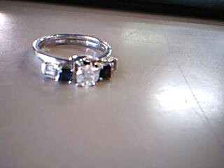 Sapphire Lady's Stone & Diamond Ring 5 Diamonds .53 Carat T.W. 14K White Gold