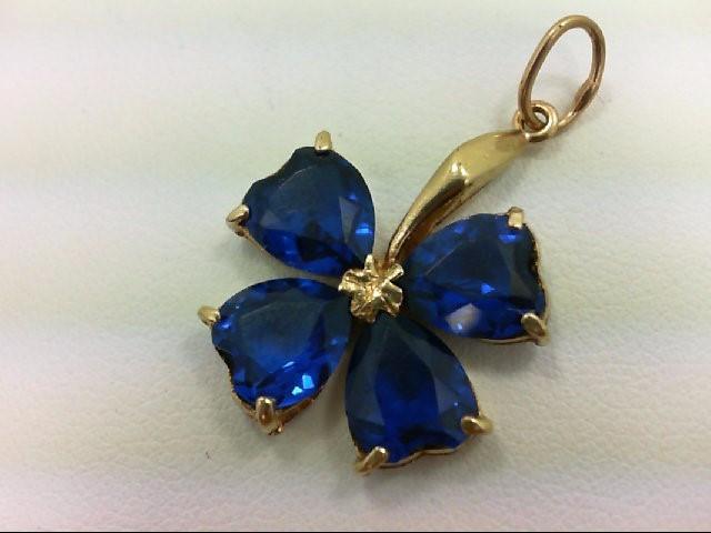 Blue Stone Gold-Stone Pendant 14K Yellow Gold 3.1g