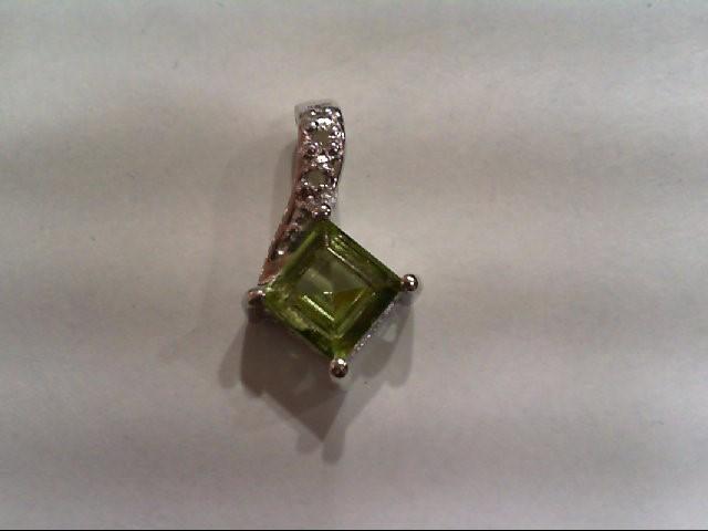Peridot Silver-Diamond & Stone Pendant 2 Diamonds .010 Carat T.W. 925 Silver