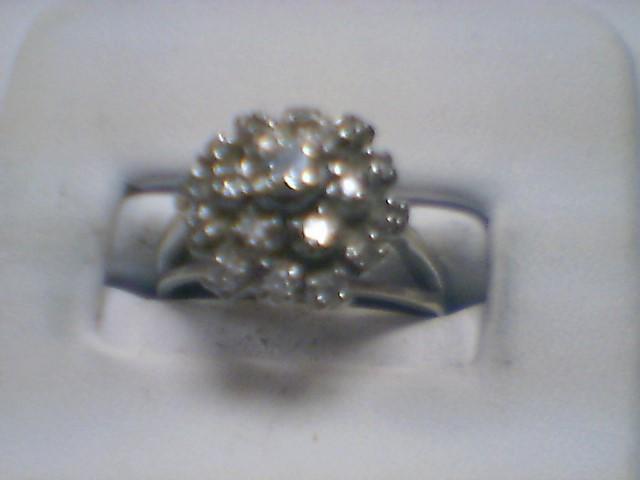 Lady's Diamond Cluster Ring 20 Diamonds .34 Carat T.W. 14K White Gold 3.6g