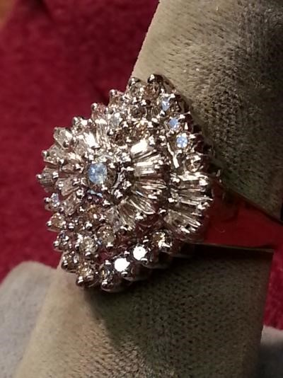 Lady's Diamond Cluster Ring 43 Diamonds 1.36 Carat T.W. 10K 2 Tone Gold 3.9dwt