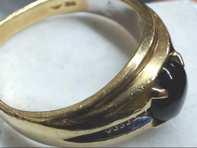 Black Stone Gent's Stone Ring 10K Yellow Gold 7.1g Size:10.5