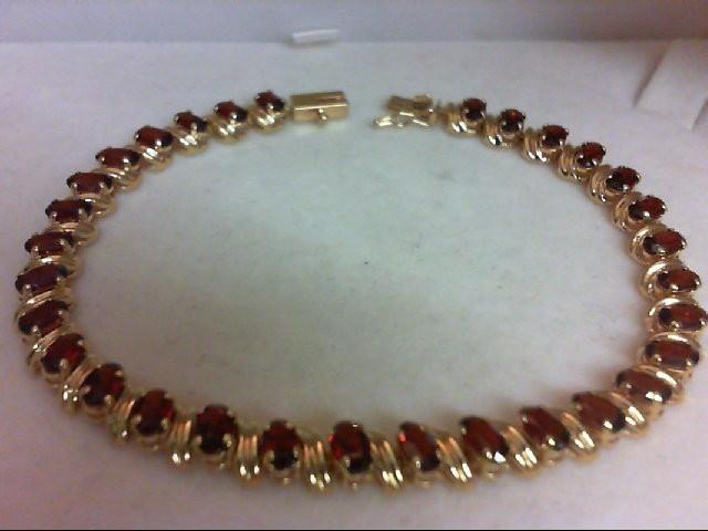 Almandite Garnet Gold-Stone Bracelet 14K Yellow Gold 8.4g