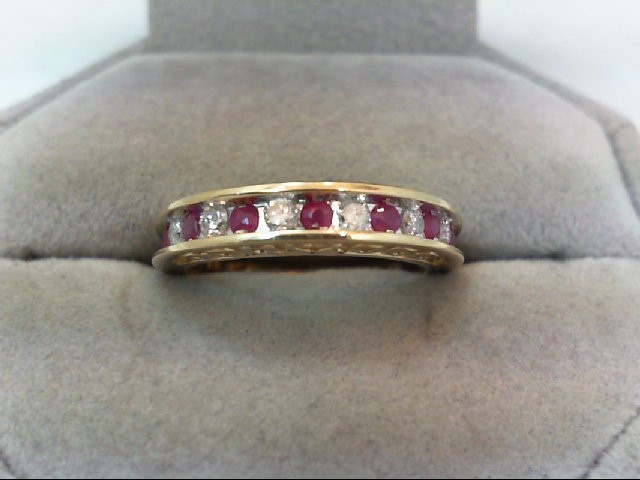 Ruby Lady's Stone & Diamond Ring 6 Diamonds .18 Carat T.W. 10K Yellow Gold 3.2g