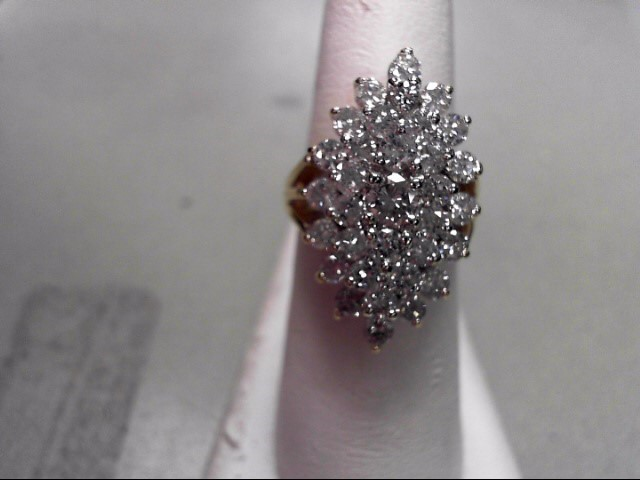 Lady's Diamond Cluster Ring 33 Diamonds 2.02 Carat T.W. 14K Yellow Gold 10.53g