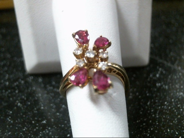 Synthetic Ruby Lady's Stone & Diamond Ring 5 Diamonds .15 Carat T.W.