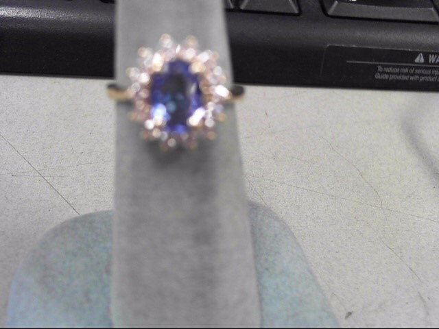 Blue Stone Lady's Stone & Diamond Ring 14 Diamonds .28 Carat T.W.