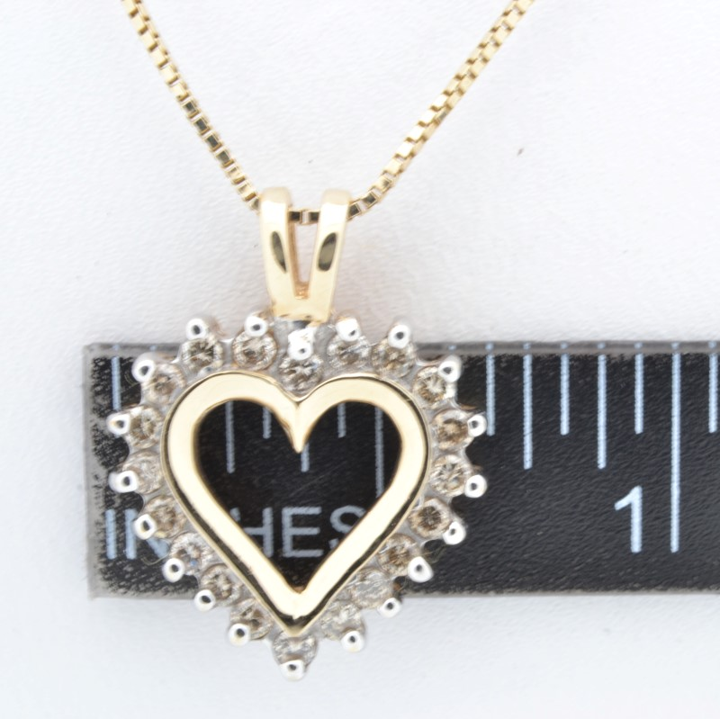 ESTATE DIAMOND HEART PENDANT CHARM SOLID 10K GOLD LOVE VALENTINE DAY