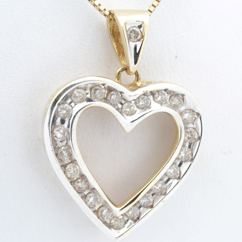 ESTATE DIAMOND HEART PENDANT CHARM SOLID 14K GOLD 2 TONE VALENTINE