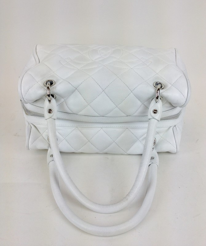 CHANEL WHITE CAVIAR LEATHER SHOULDER BAG TOTE