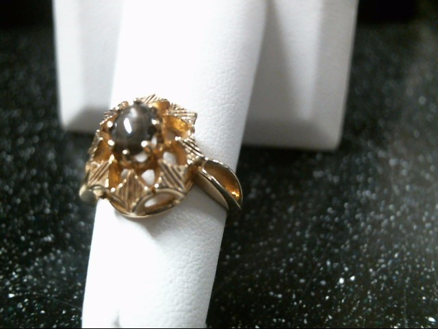 Synthetic Black Star Sapphire Lady's Stone Ring 10K Yellow Gold 3.7g Size:5