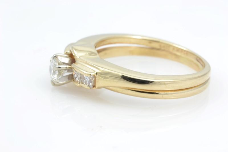 ESTATE DIAMOND RING WEDDING SET BAND SOLID 14K GOLD ENGAGEMENT 6.25