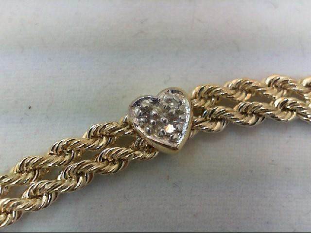 Gold-Diamond Bracelet 9 Diamonds .09 Carat T.W. 10K Yellow Gold 3.9g
